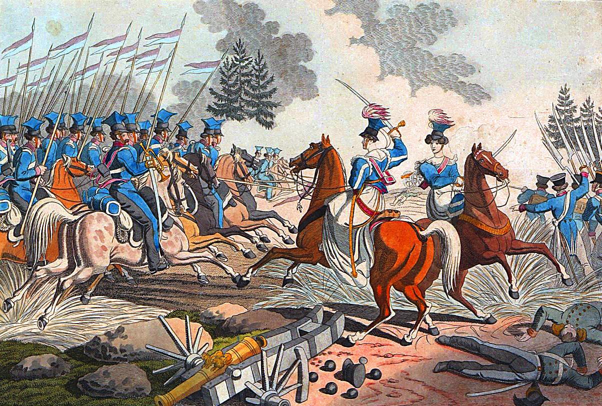 Emilia Plater podczas powstania listopadowego w1831 r. Źródło: Georg Benedikt Wunder, Emilia Plater podczas powstania listopadowego w1831 r., domena publiczna.