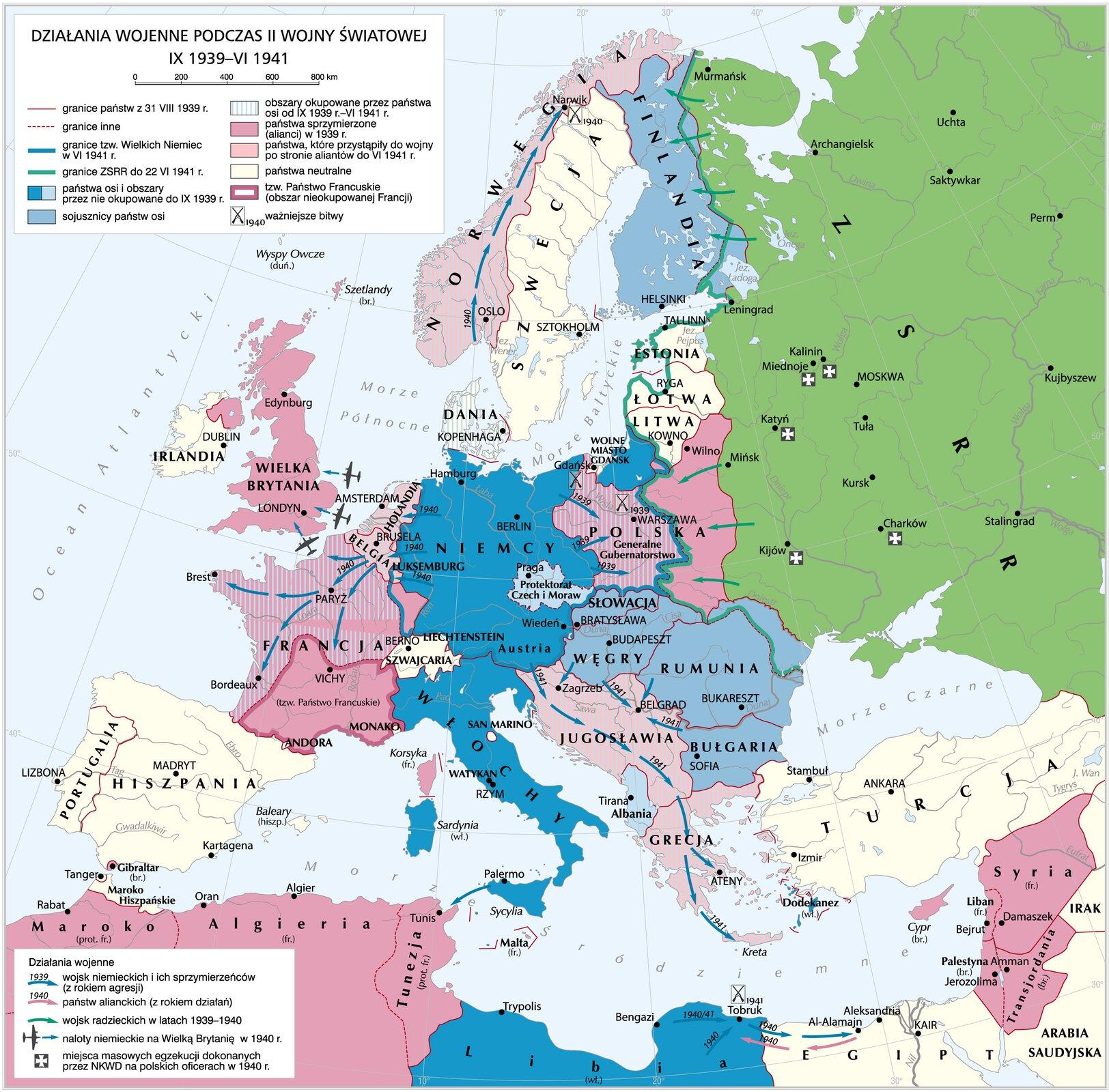 Działania wojenne podczas II wojny światowej do VI 1941 roku Działania wojenne podczas II wojny światowej do VI 1941 roku Źródło: Krystian Chariza izespół, licencja: CC BY 4.0.