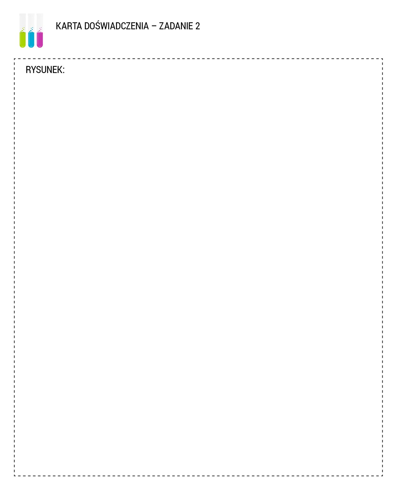 """Na rysunku pokazany jest arkusz służący do zilustrowania doświadczenia. Wlewym górnym rogu arkusza widnieje rysunek trzech probówek napełnionych do połowy kolorowymi cieczami. Od lewej: zieloną, niebieską, fioletową. Obok umieszczono tytuł arkusza pracy domowej: """"KARTA DOŚWIADCZENIA – ZADANIE 2"""". Poniżej znajduje się wydzielony obszar, na którym należy umieścić rysunek ilustrujący doświadczenie."""