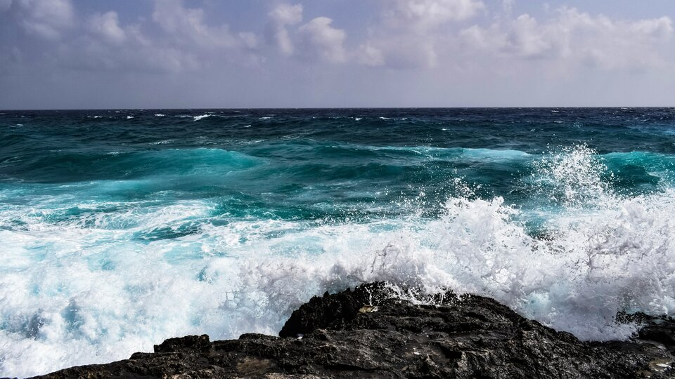 Ilustracja przedstawia fale morza uderzające oskalisty brzeg.