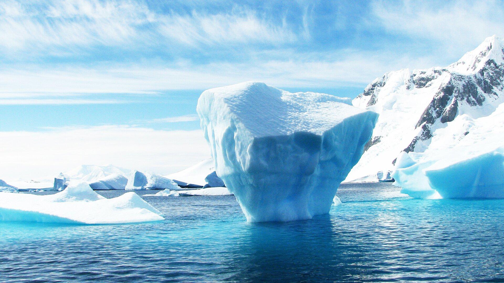 Zdjęcie zrobione zostało wstrefie okołobiegunowej. Przedstawia wysoki brzeg morski pokryty śniegiem ilodem. Na morzu widoczne są fragmenty pokrywy lodowej. Wcentrum zdjęcia widoczna jest góra lodowa.
