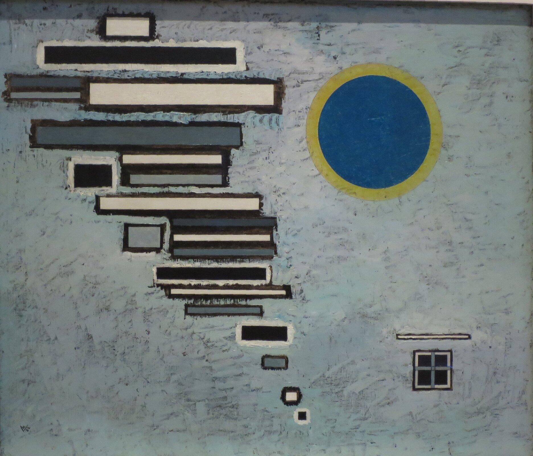 """Ilustracja przedstawia abstrakcję Wassily'a Kandinsky'ego """"Nierówny"""". Na szarym tle po lewej stronie znajdują się czarne, szare ibiałe prostokąty różnej długości, ułożone wpoziomie jeden nad drugim. Każdy znich otoczony jest konturem - czarne białym, aszare ibiałe - czarnym. Kilka mniejszych figur znimi sąsiaduje. Po prawej stronie, wgórnej części dzieła, znajduje się niebieski okrąg zżółtym, grubym konturem. Wprawym, dolnym rogu artysta zamieścił czarne, kwadratowe okienko podzielone na cztery części, anad nim białą pionową, krótką linię."""