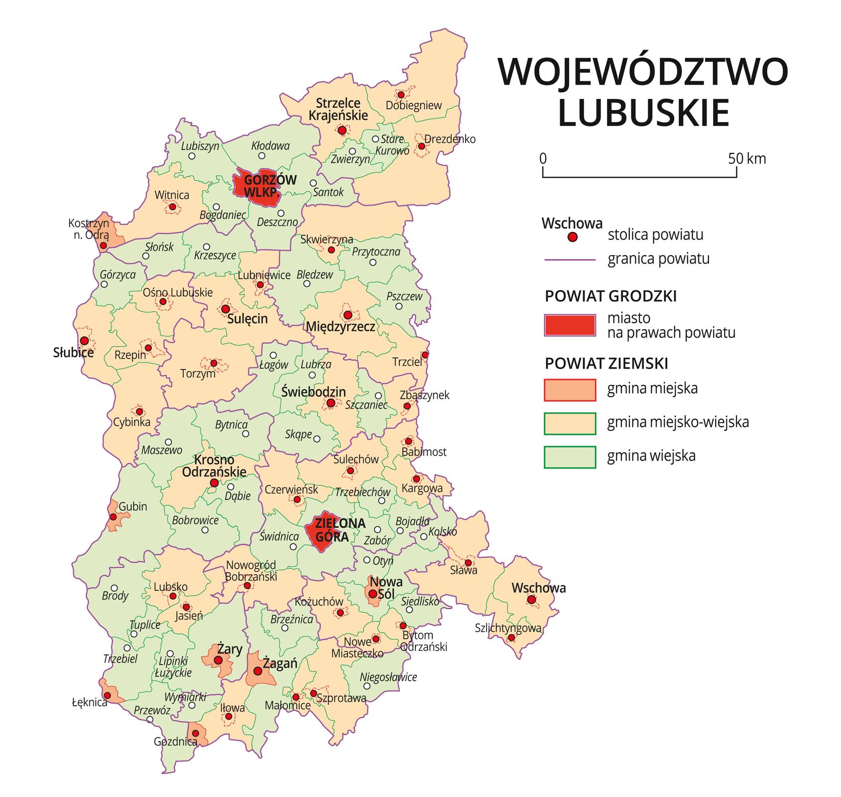 Mapa województwa lubuskiego. Na mapie fioletowymi liniami zaznaczono granice powiatów ziemskich, dużymi czerwonymi kropkami zaznaczono miasta będące stolicami powiatów. Wobrębie powiatów ziemskich kolorami wyróżniono gminy miejskie, miejsko-wiejskie iwiejskie. Czerwonym kolorem wyróżniono powiaty grodzkie zmiastami na prawach powiatu, miasta te opisano dużymi literami. Kolory iznaki użyte na mapie opisano wlegendzie. Wlegendzie podziałka liniowa.