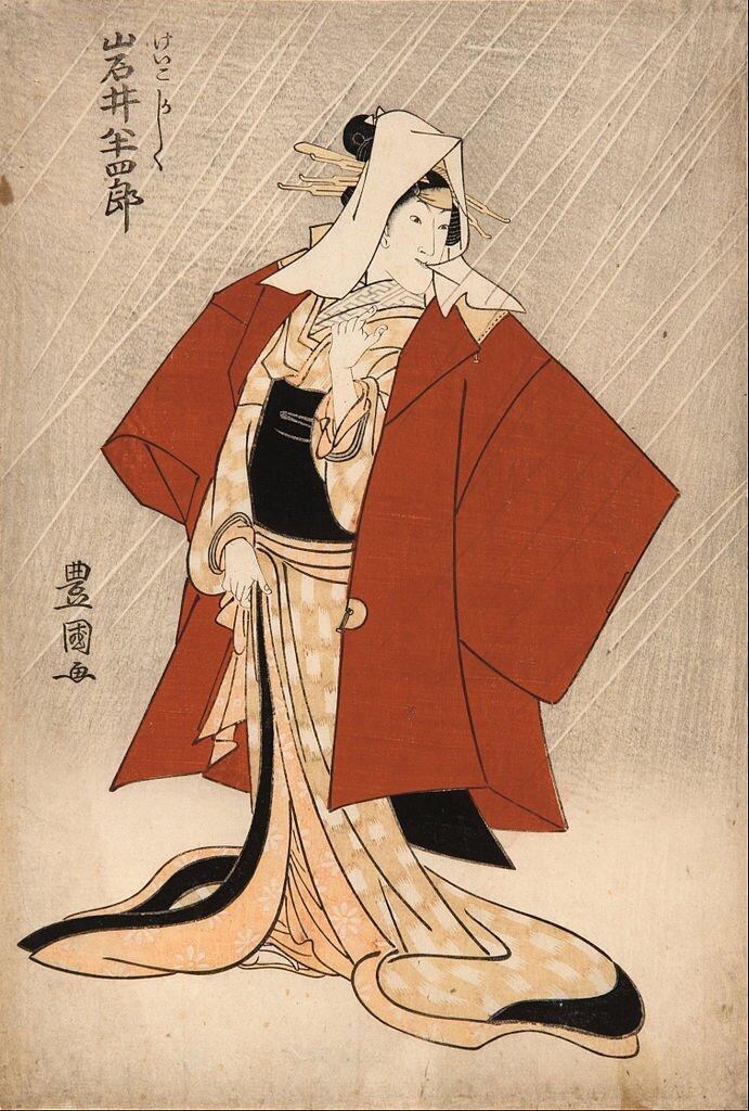 Aktor teatru kabuki Iwai Haschiro Vjako gejsza Kashiku Ilustracja 2 Źródło: Utagawa Toyokuni I, Aktor teatru kabuki Iwai Haschiro Vjako gejsza Kashiku, 1808, barwna odbitka drzeworytowa, Art Gallery of South Australia, domena publiczna.