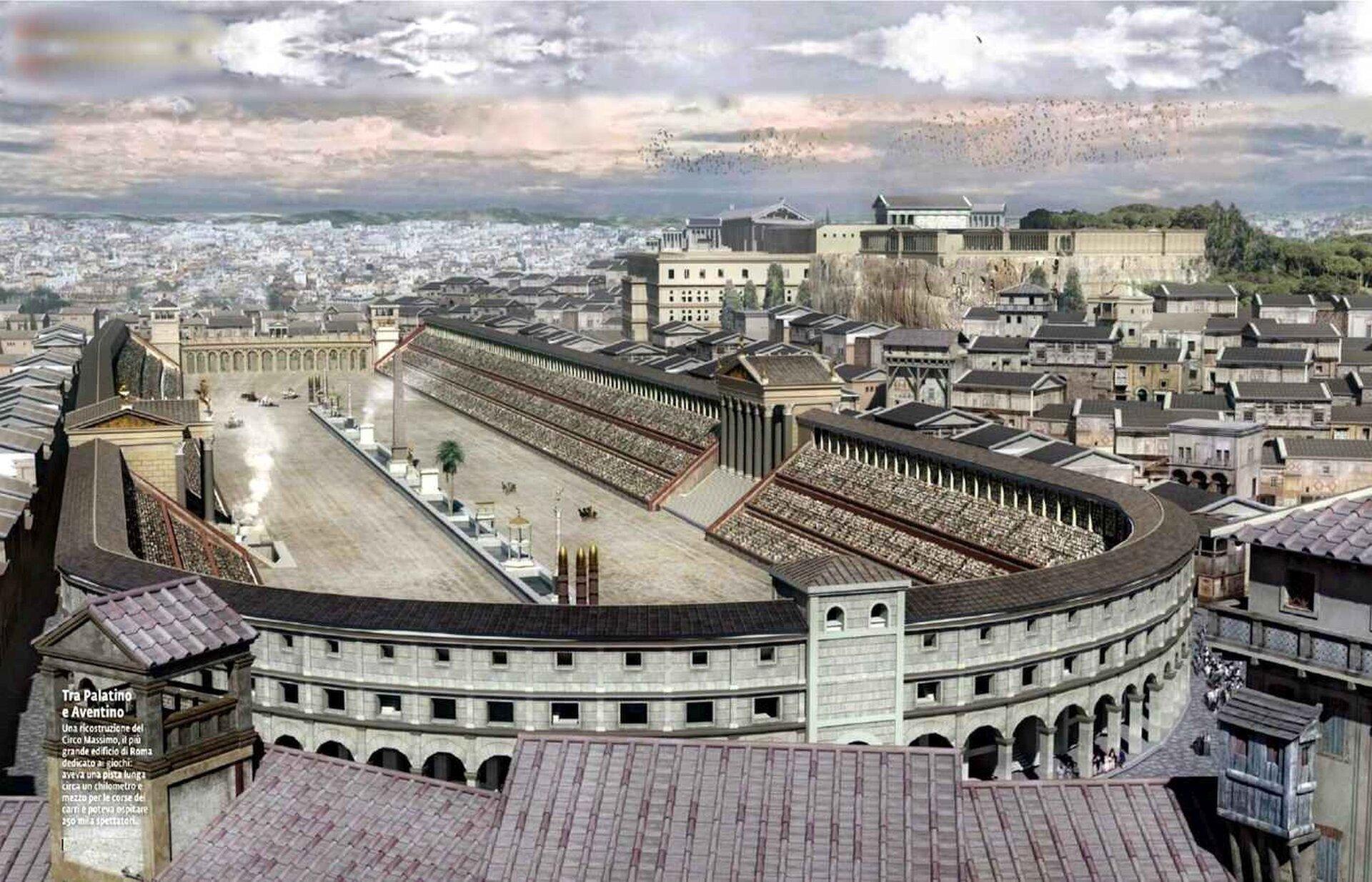 Ilustracja przedstawia rekonstrukcję cyrku rzymskiego. Cyrk ma owalny kształt. Po środku areny znajduje się tzw. spina. Jest to długi iniski mur rozdzielający tory. Na jego podmurowaniu znajdują się ołtarze bóstw, posągi, małe budowle kultowe oraz obelisk. Po obu stronach cyrku widoczne są kamienne trybuny. Budowla przyozdobiona jest portykami izłotymi kolumnami. Wtle znajduje się widok na miasto.