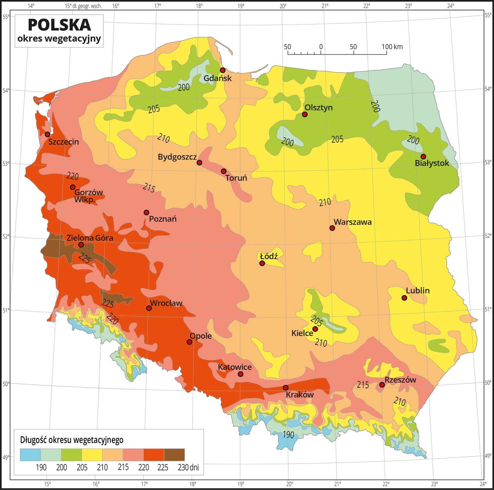 Ilustracja przedstawia mapę Polski. Na mapie kolorami zaznaczono długość okresu wegetacyjnego. Zlewej strony mapy jest kolor brązowy, przechodzący wkierunku wschodnim wczerwony, potem żółty, zielony do zielono-niebieskiego. Najwięcej obszarów wkolorze zielonym izielono-niebieskim występuje na północnym-wschodzie ina południu. Wpołudniowej części mapy, obejmującej góry występuje również kolor niebieski. Na izoliniach opisano długość okresu wegetacyjnego od stu dziewięćdziesięciu dni – kolor niebieski do dwustu trzydziestu dni – kolor brązowy. Czerwonymi punktami zaznaczono miasta wojewódzkie. Mapa pokryta jest siatką równoleżników ipołudników. Dookoła mapy jest biała ramka, wktórej opisane są współrzędne geograficzne. Poniżej mapy wlegendzie umieszczono prostokątny poziomy pasek. Pasek podzielono na osiem kolorów. Zlewej strony niebieski, niebiesko-zielony, dalej zielony przez żółty, pomarańczowy iczerwony do brązowego. Na izoliniach opisano długość okresu wegetacyjnego od stu dziewięćdziesięciu dni – kolor niebieski do dwustu trzydziestu dni – kolor brązowy. Opisano izolinie sto dziewięćdziesiąt dni, dwieście, dwieście pięć, dwieście dziesięć, dwieście piętnaście, dwieście dwadzieścia, dwieście dwadzieścia pięć, dwieście trzydzieści dni.