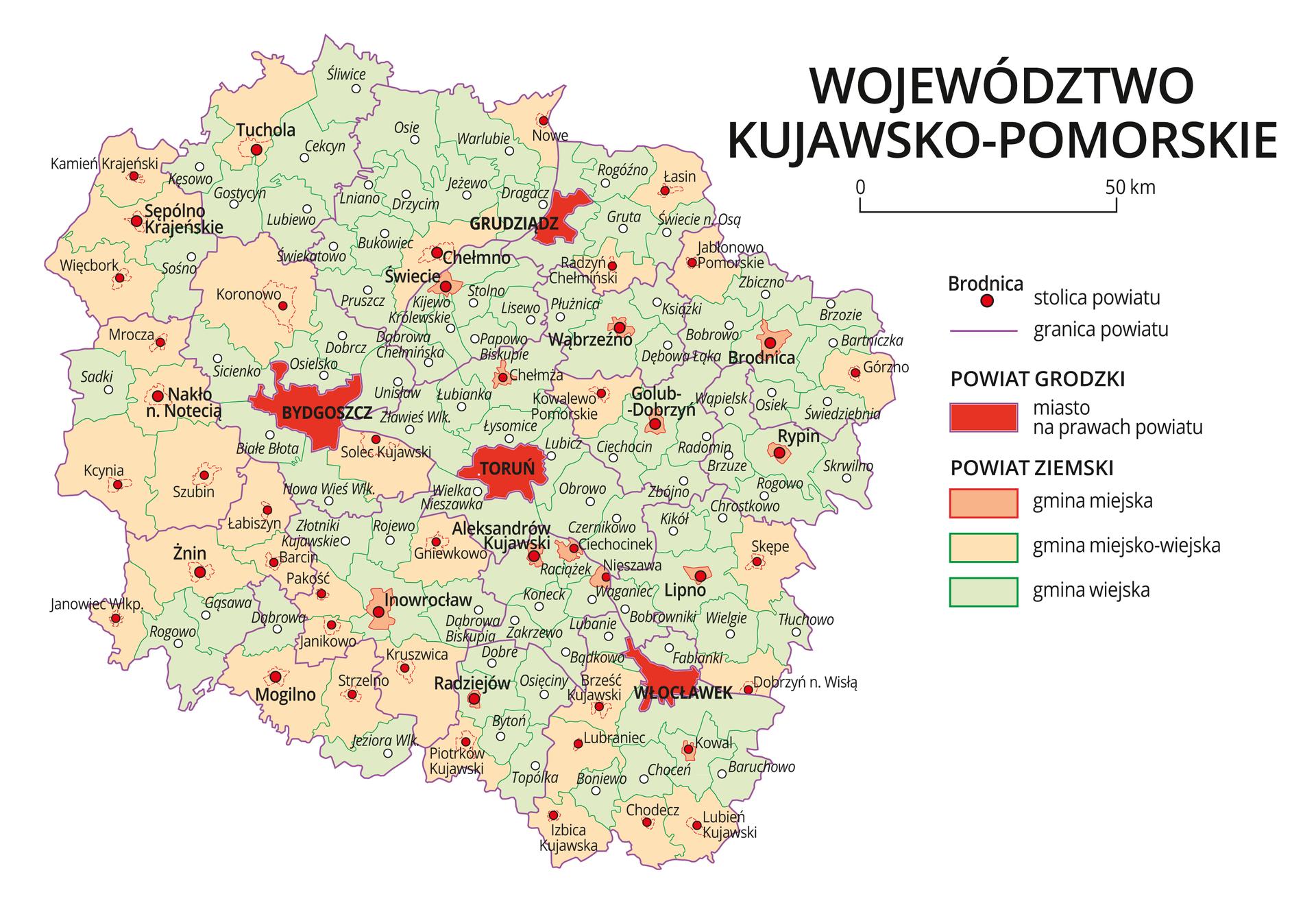 Mapa województwa kujawsko-pomorskiego. Na mapie fioletowymi liniami zaznaczono granice powiatów ziemskich, dużymi czerwonymi kropkami zaznaczono miasta będące stolicami powiatów. Wobrębie powiatów ziemskich kolorami wyróżniono gminy miejskie, miejsko-wiejskie iwiejskie. Czerwonym kolorem wyróżniono powiaty grodzkie zmiastami na prawach powiatu, miasta te opisano dużymi literami. Kolory iznaki użyte na mapie opisano wlegendzie. Wlegendzie podziałka liniowa.