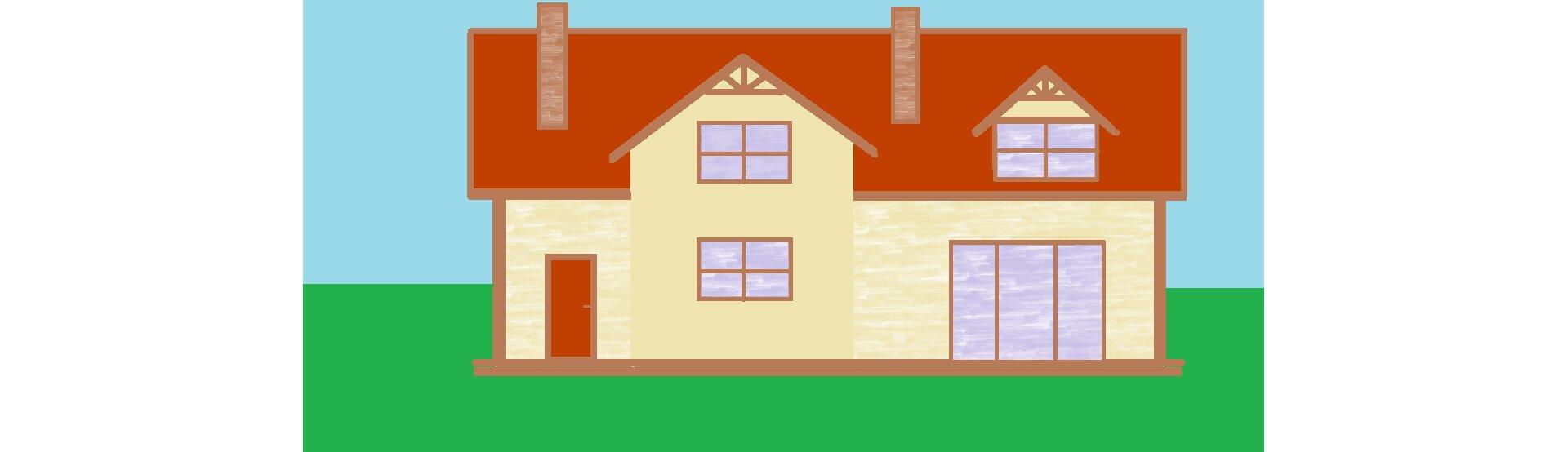Ilustracja przedstawiająca dom utworzony zfigur