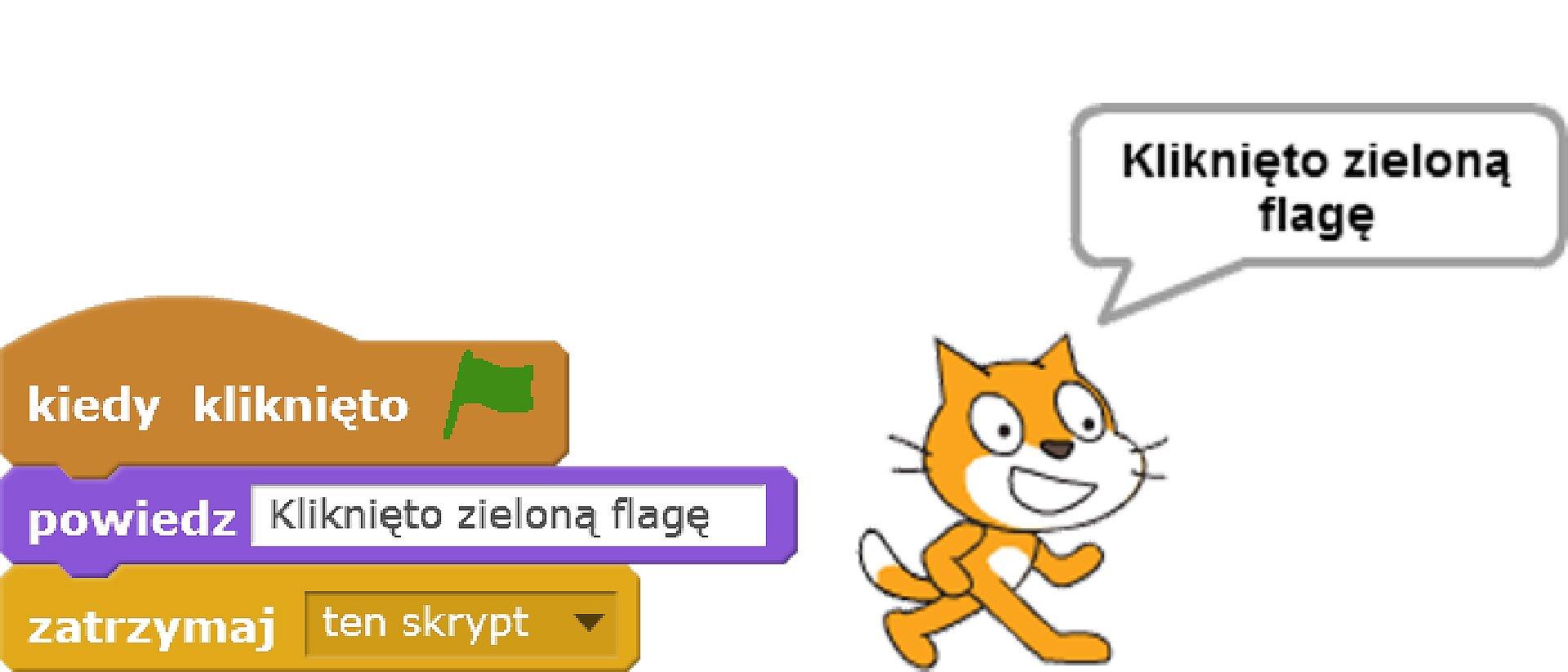 Skrypt realizyjący wyświetlenie napisu po kliknięciu zielonej flagi