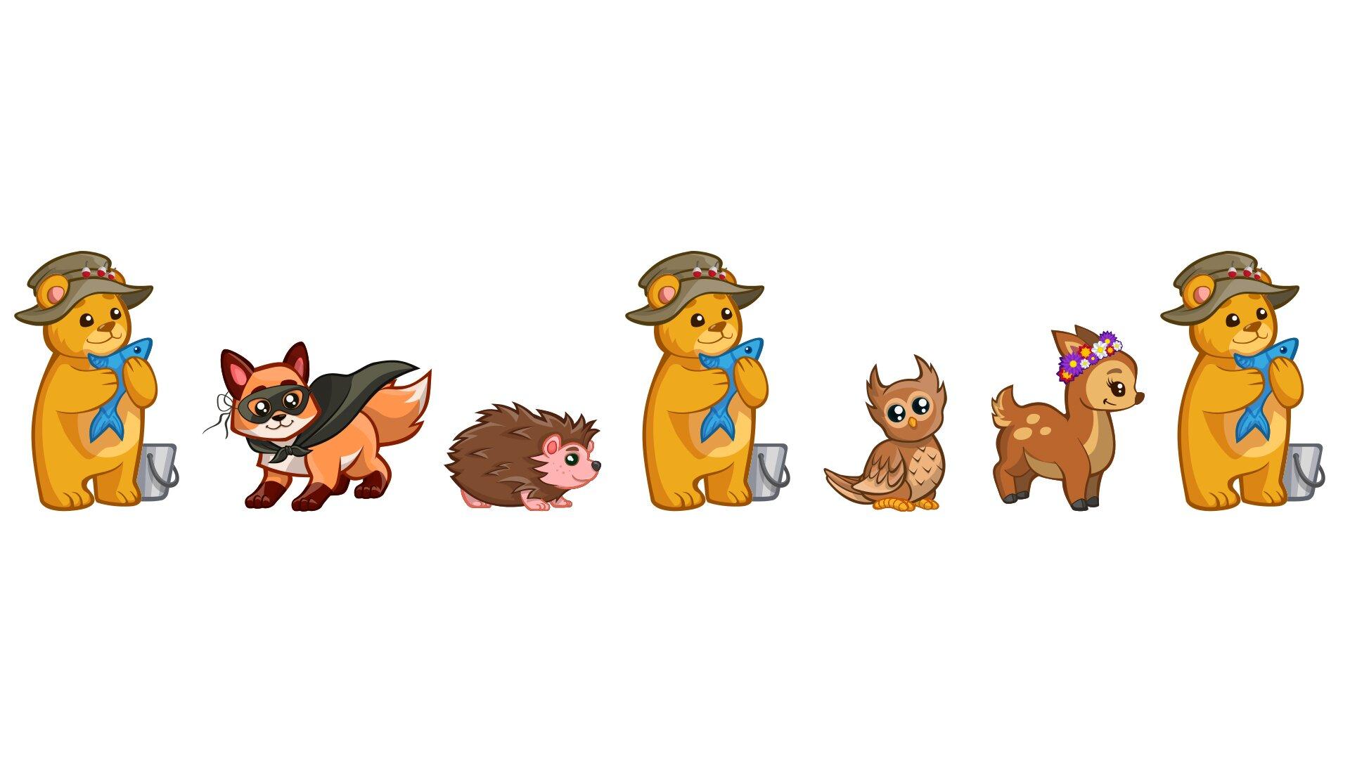 Ilustracja przedstawia ustawione wrządku siedem rysunków zwierząt: lisa, jeża, sowy, sarny oraz niedźwiadka, którego postać powtarza się trzy razy.