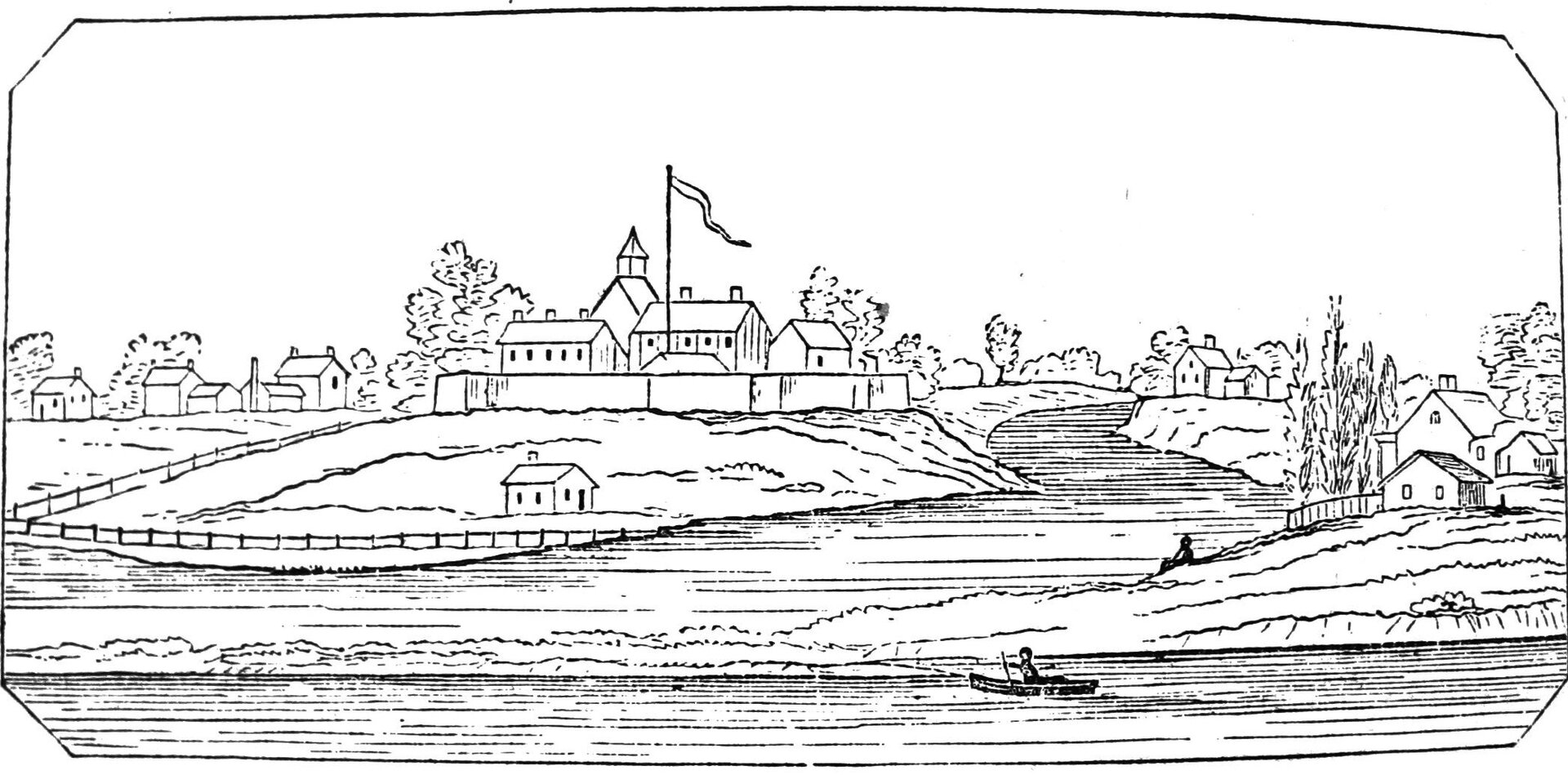 Fort Dearborn Fort Dearborn. Ilustracja zXIXwieku Źródło: Barber and Howe, Fort Dearborn, domena publiczna.