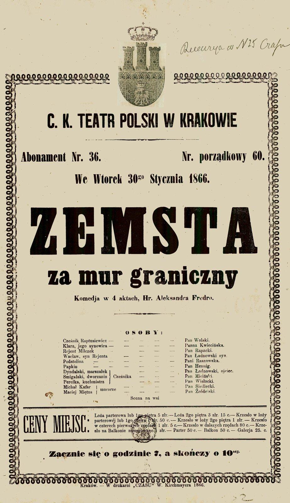 Zemsta Źródło: Zemsta, 1866, afisz teatralny, domena publiczna.