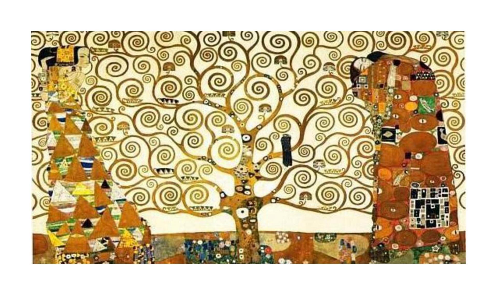 Połącz elementy dotyczące poniższego dzieła Klimta oraz przeanalizuj je pod względem dzieła totalnego isyntezy sztuk: