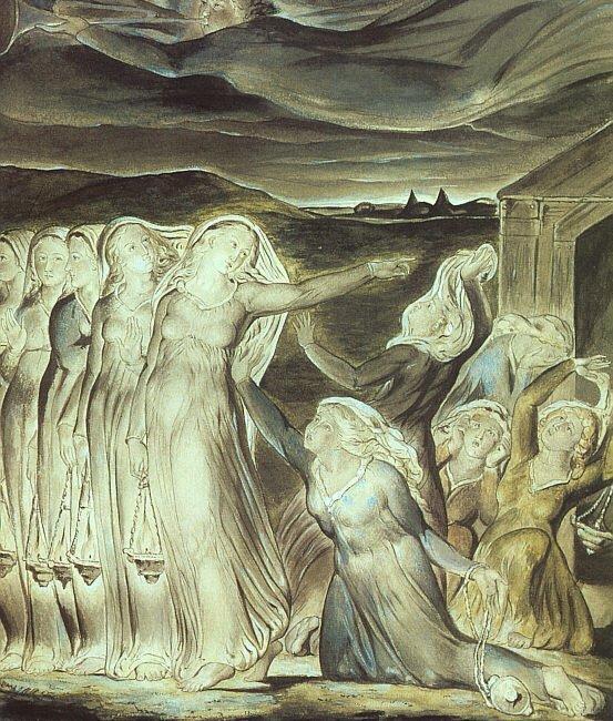 Przypowieść opannach roztropnych inieroztropnych Źródło: William Blake, Przypowieść opannach roztropnych inieroztropnych, 1822, Tate Gallery, Londyn, domena publiczna.