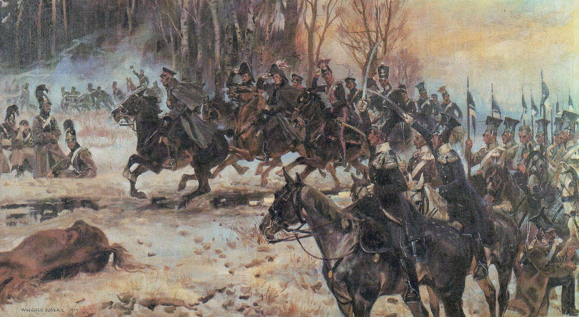 Chłopicki ze sztabem pod Olszynką Źródło: Wojciech Kossak, Chłopicki ze sztabem pod Olszynką, 1914, domena publiczna.
