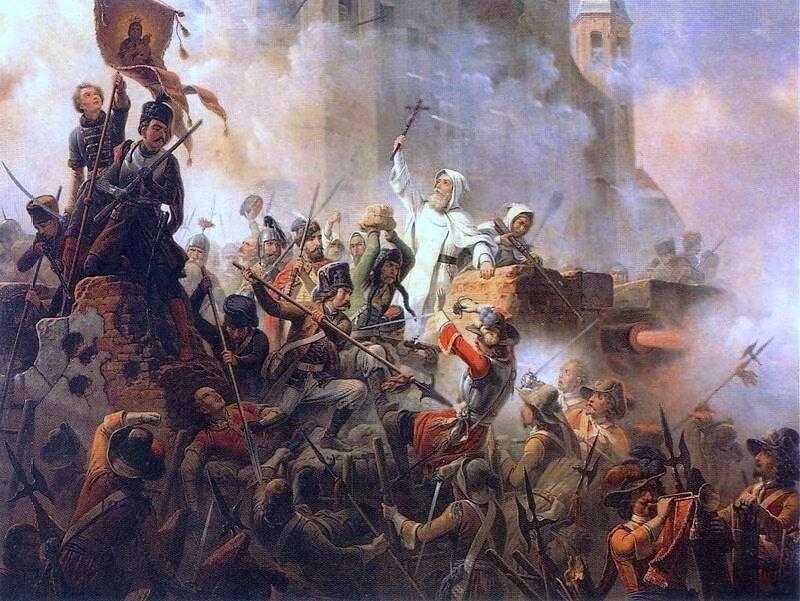 Obrona Jasnej Góry 1655 Źródło: January Suchodolski, Obrona Jasnej Góry 1655, 1845, olej na płótnie, domena publiczna.