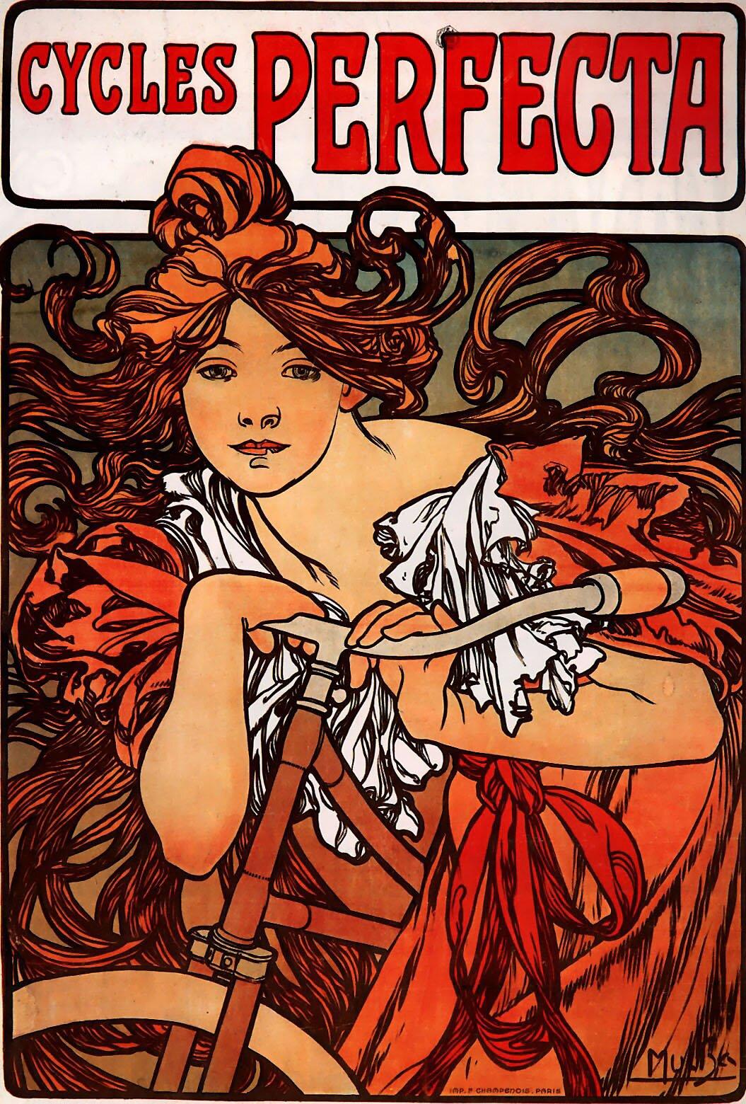 Plakat reklamowy rowerów Perfecta Ilustracja 3 Źródło: Alfons Mucha, Plakat reklamowy rowerów Perfecta, 1902, litografia barwna, zbiory prywatne, domena publiczna.
