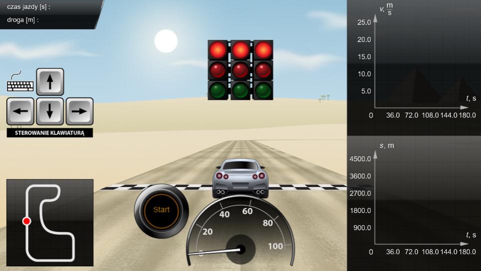 Aplikacja przedstawia symulator formuły F1. Odbiorca może poruszać się szarym samochodem po wyznaczonym torze. Sterowanie za pomocą strzałek klawiatury. Zprawej strony wyświetlają się dwa wykresy: prędkości od czasu idrogi od czasu. Wykresy podczas ruchu samochodu aktualizują się na bieżąco.