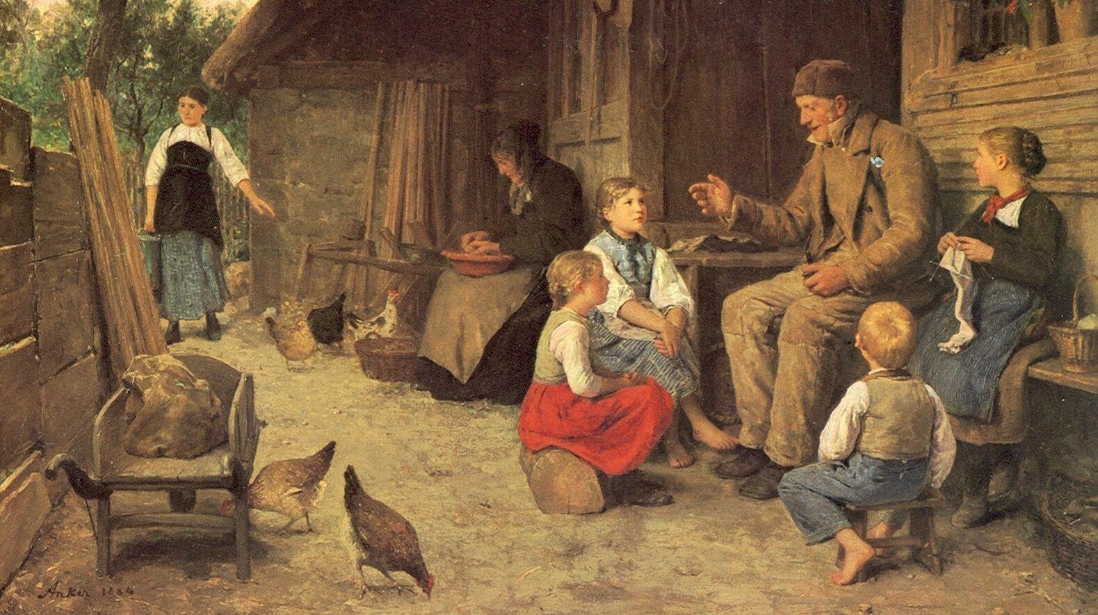 Dziadek opowiada bajkę Źródło: Albert Anker, Dziadek opowiada bajkę, 1884, domena publiczna.