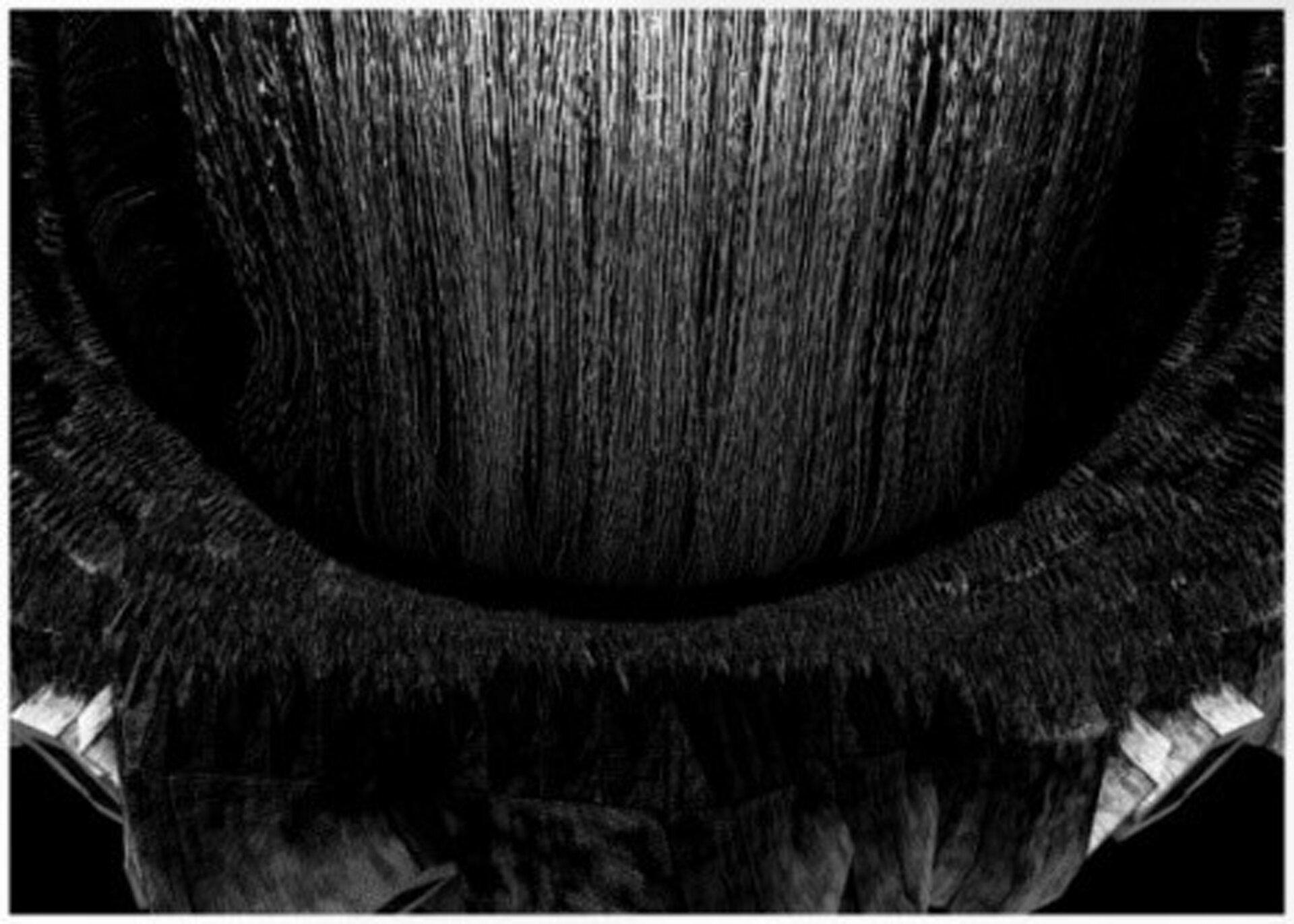 """Ilustracja przedstawia pracę Jakuba Jaszewskiego """"XRYT 005"""". Abstrakcja przedstawia autorską wizję pejzażu. Dolna część tworzy łuk. Ukazuje białe bryły, przykryte czarnym pasem, przypominającym nawarstwioną trawę. Nad nim tło wypełnione jest przez pionowe, nieregularne linie, zagęszczone wdolnej części ijaśniejące na górze."""