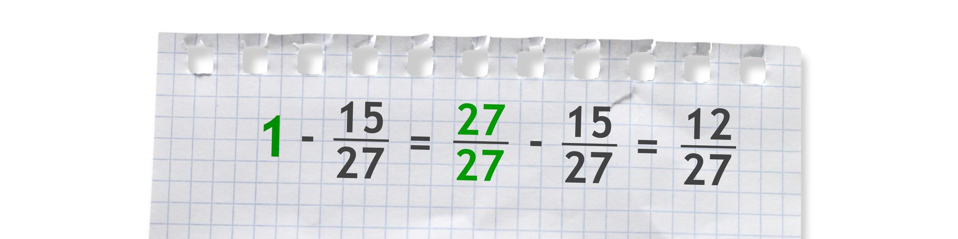 Przykład: jeden minus piętnaście dwudziestych siódmych równa się dwadzieścia siedem dwudziestych siódmych minus piętnaście dwudziestych siódmych równa się dwanaście dwudziestych siódmych.