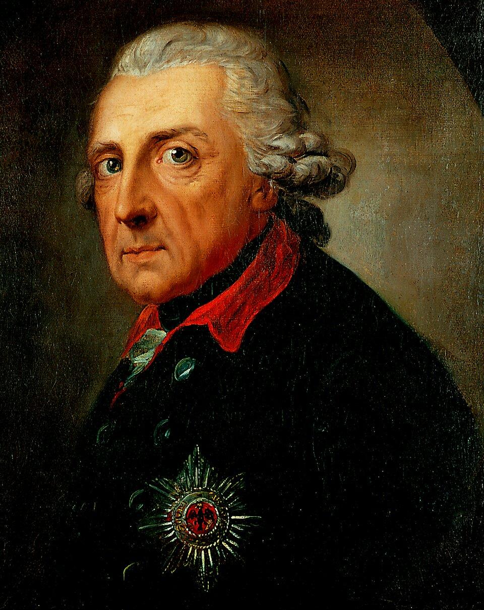 Fryderyk II Źródło: Anton Graff, Fryderyk II, 1781, olej na płótnie, Charlottenburg Palace, domena publiczna.