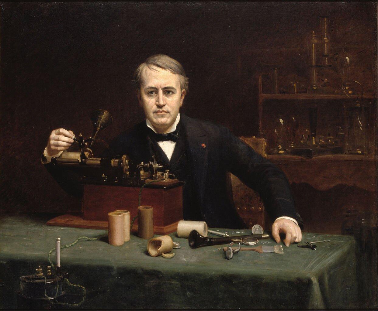 Thomas Edison zradiem Źródło: Google Cultural Institute, Thomas Edison zradiem, Olej na płótnie, National Portrait Gallery, licencja: CC 0.