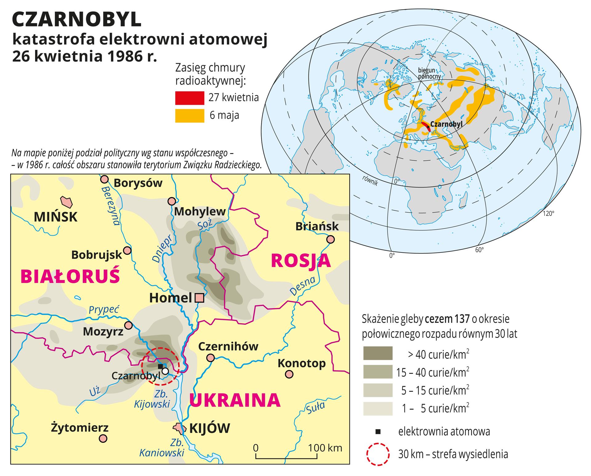 Ilustracja zawiera mapę okolic Czarnobyla na Ukrainie zzaznaczonym kolorowymi plamami skażeniem gleby cezem 137. Od najciemniejszego wCzarnobylu do najjaśniejszego wpromieniu trzystu kilometrów od miejsca katastrofy. Na drugiej mapie – mapie świata – zasięg chmury radioaktywnej wdniu wybuchu – wokolicach Czarnobyla idziesięć dni później – północna, środkowa iwschodnia Azja oraz Grenlandia ipółnocne krańce Ameryki Północnej.