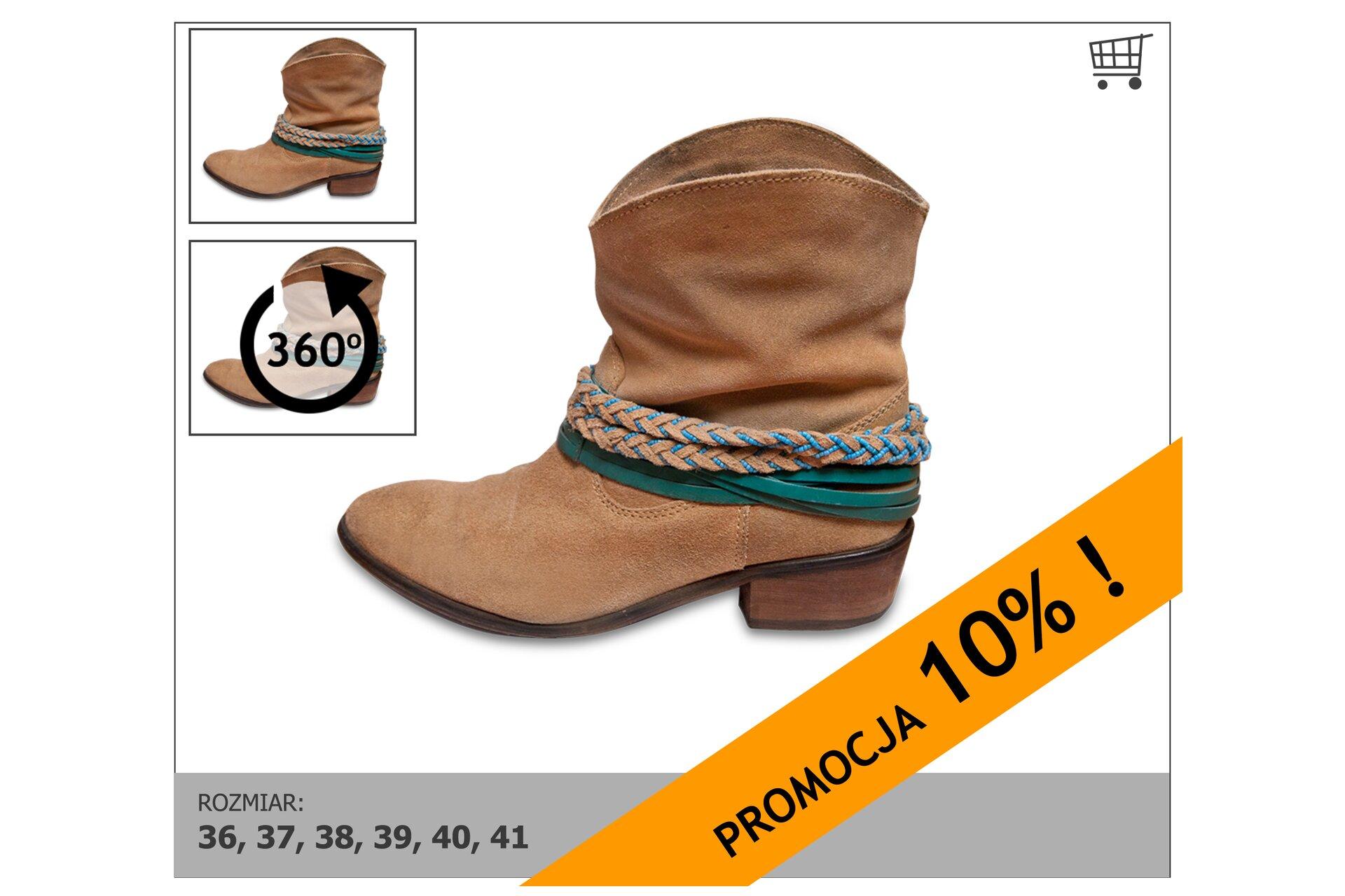 Rysunek butów – informacja opromocji 10%.
