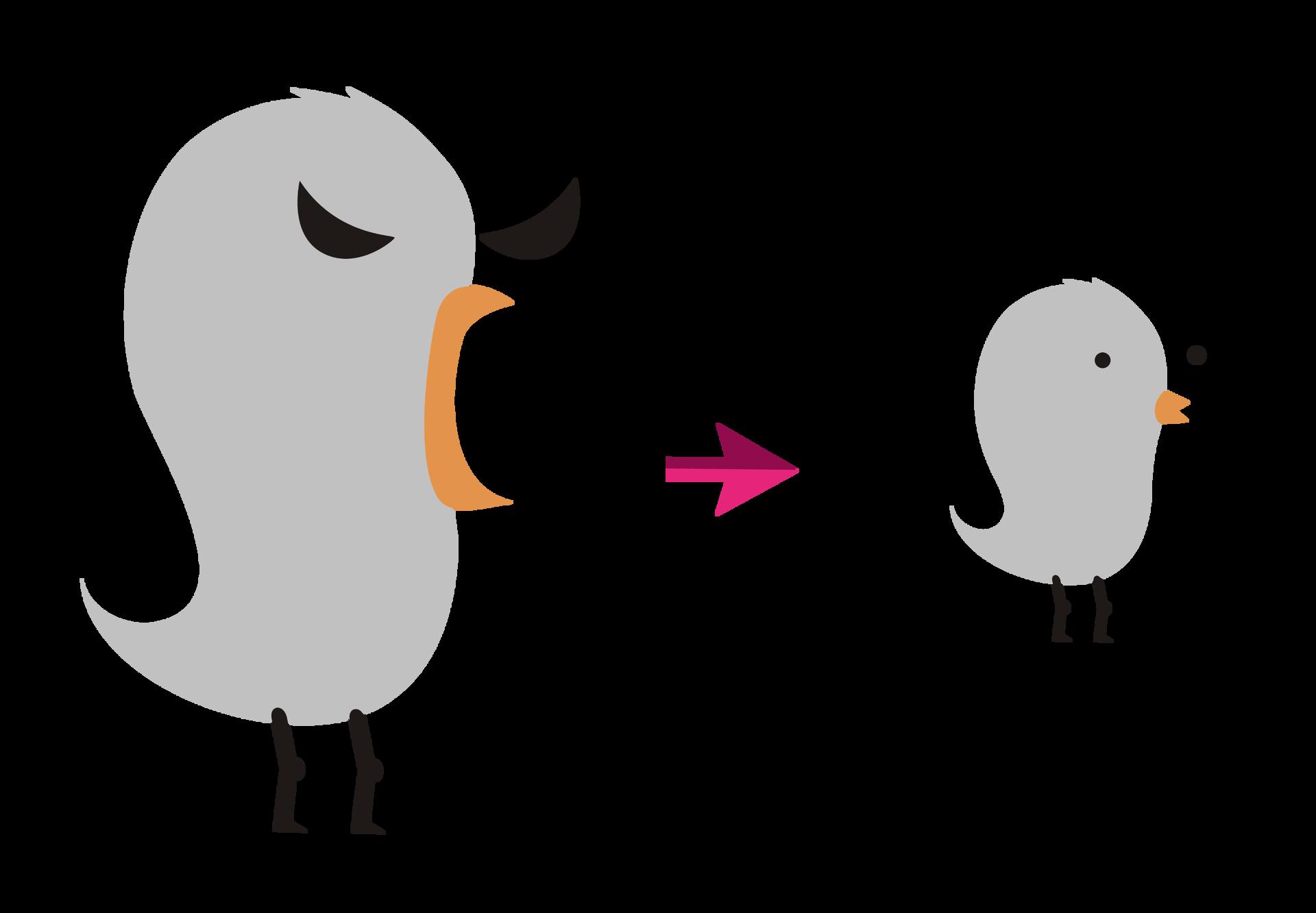Rysunek - dwa ptaki - duży imały. Sa szare, mają pomarańczowe dzioby, czarne oczy inogi. Duży ma otwarty dziób przed którym jest strzałka wkierunku małego ptaka.