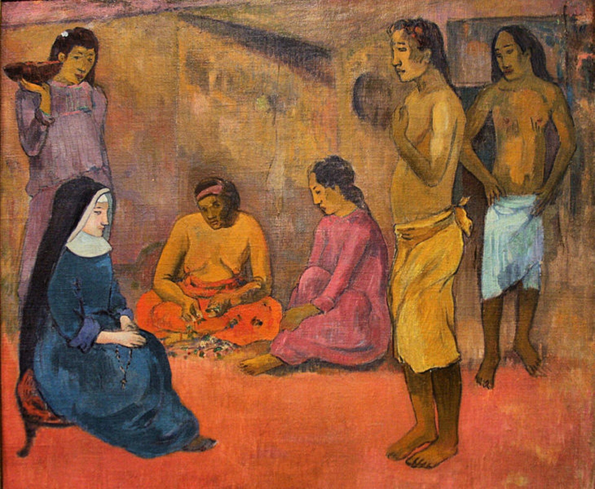"""Ilustracja przedstawia obraz Paula Gauguina """"Siostra miłosierdzia"""". Ukazuje klęczącą zakonnicę oraz pięć innych postaci - dwóch mężczyzn oraz trzy kobiety. Dwaj mężczyźni stoją naprzeciw zakonnicy. Osłonięte mają jedynie biodra. Za zakonnicą stoi kobieta trzymająca wgórze misę. Ma na sobie fioletową suknię ikwiat we włosach. Pomiędzy nią amężczyznami siedzą dwie kobiety - jedna do połowy jest naga, druga ma na sobie różową suknię. Wszystkie postacie są skupione ipoważne. Ziemia udołu obrazu jest czerwonawa. Wtle znajdują się niewyraźne, rozmazane budynki."""