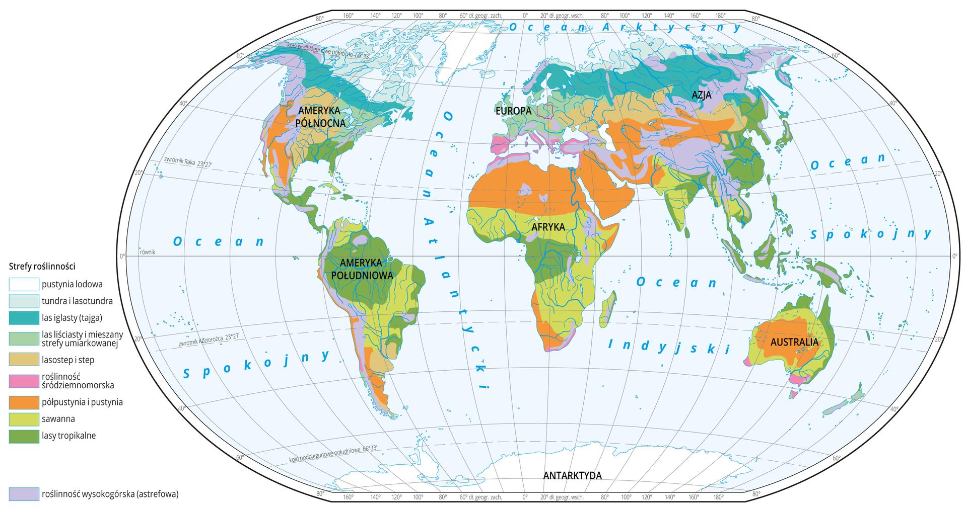 Ilustracja przestawia mapę świata. Kolorami według legendy zlewej zaznaczono na niej biomy, czyli strefy roślinności.