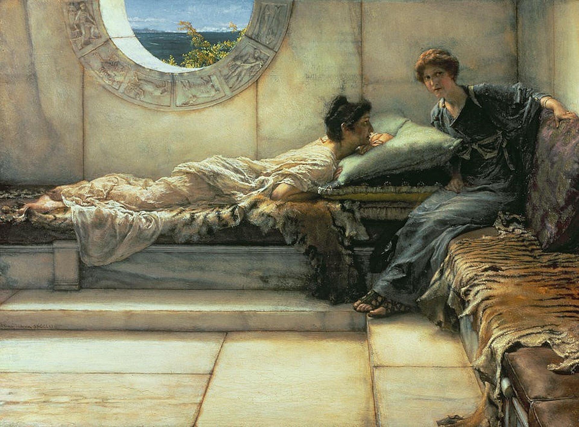 """Obraz autorstwa Sir Lawrence'a Tadamy pod tytułem """"Sekret"""" przedstawia dwie młode kobiety. Jedna znich znajduje się na leżance. Leżąc na brzuchu ma wzrok skierowany na drugą siedzącą kobietę. Przysłuchują się sobie uważnie."""
