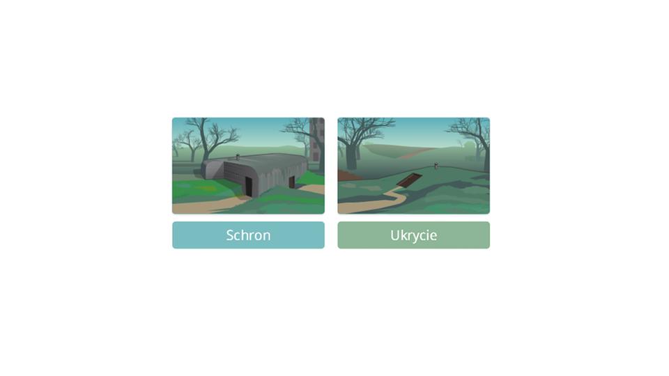 Aplikacja interaktywna prezentuje różnice pomiędzy schronami iukryciami, atakże wymagania stawiane tym rodzajom schronień. Rozpoczyna się od dwóch rysunków. Lewy, podpisany słowem Schron prezentuje betonowy bunkier wotoczeniu trawy, drzew zkilkupiętrowym blokiem mieszkalnym wtle. Do schronu prowadzą dwie niezależne drogi. Rysunek po prawej stronie przedstawia pagórek zwykopanym wejściem do schronienia zasłoniętym drewnianym poziomym włazem, do którego prowadzi pojedyncza droga. Otoczenie to pola iwzgórza zsylwetką domu jednorodzinnego na horyzoncie. Kliknięcie któregoś zrysunków lub podpisu powoduje powiększenie widoku danego rodzaju schronienia iodegranie komentarza lektora. Wprawym dolnym rogu obrazka znajduje się przycisk znapisem Powrót, którego kliknięcie powoduje przejście do ekranu wyboru początkowego. Po odegraniu komentarza lektora na temat danego typu schronienia pośrodku ekranu pojawia się przycisk znapisem Podstawowe wyposażenie schronu lub Podstawowe wyposażenie ukrycia. Kliknięcie przycisków powoduje odegranie komentarza na temat wyposażenia podstawowego danego miejsca schronienia. Komentarzowi temu towarzyszy pojawianie się na ekranie rysunków przedstawiających omawiane przedmioty iinstalacje wraz zpodpisami. Wprzypadku schronu są to: rury kanalizacyjne (kanalizacja), agregat prądotwórczy (własne źródło prądu), symbol czerwonego krzyża (punkt medyczny) , apteczka (sprzęt ratowniczy), żarówka (oświetlenie), kaloryfer (ogrzewanie), butelka zwodą ipuszki zżywnością (zapasy wody iżywności), telefon (środki łączności). Wprzypadku schronienia są to: apteczka (sprzęt ratowniczy), butelka zwodą ipuszki zżywnością (zapasy żywności oraz wody), saperka ikilof (sprzęt do odgruzowywania), ławka (ławki do siedzenia).