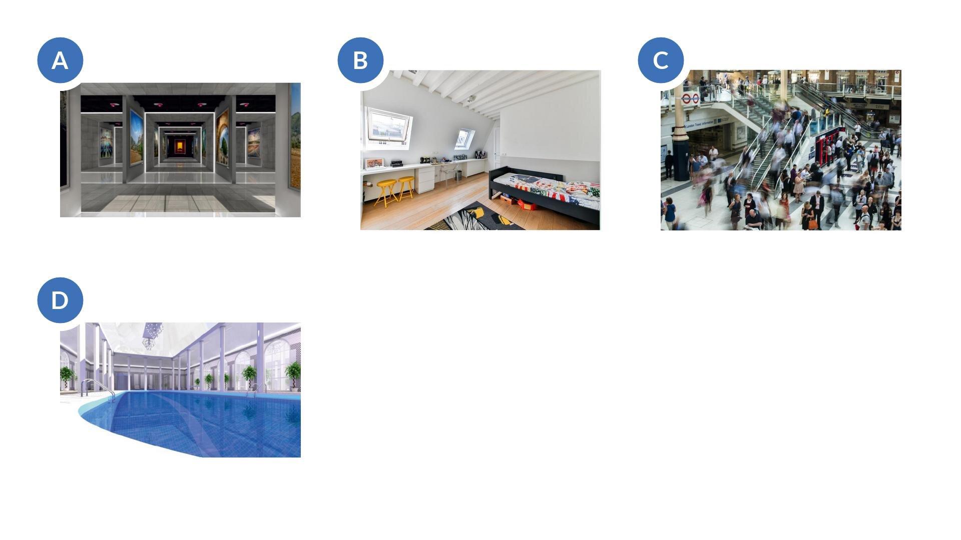 Pierwsze zdjęcie przedstawia wnętrze galerii. Widać na szarych ścianach zawieszone obrazy. Drugie zdjęcie to pokój dziecięcy obiałych ścianach zustawionym po jednej stronie łóżkiem ibiurkiem po drugiej stronie. Na ścianie gdzie stoi biurko są dwa okna. Na podłodze położone są panele. Trzecie zdjęci przedstawia wnętrze galerii handlowej. Widać na nim schody itłum poruszających się ludzi. Widać duży hol a, wniektórych miejscach witryny. Czwarte zdjęcie przedstawia nieckę basenową wewnątrz pomieszczenia, które jest wkolorze białym, apo bokach widać filary obok których ustawiono donice zdrzewkami.
