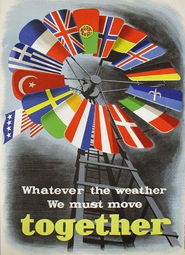 Plakat promujący Plan Marshalla Źródło: E. Spreckmeester, Plakat promujący Plan Marshalla, 1950, Economic Cooperation Administration, domena publiczna.