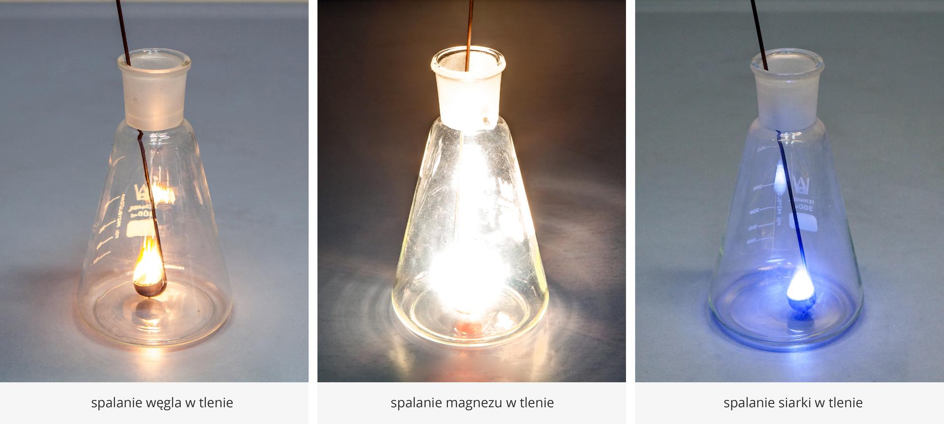 Trzy zdjęcia zestawione koło siebie. Na pierwszym spalanie węgla wtlenie, na drugim spalanie magnezu wtlenie, ana trzecim spalanie siarki wtlenie.