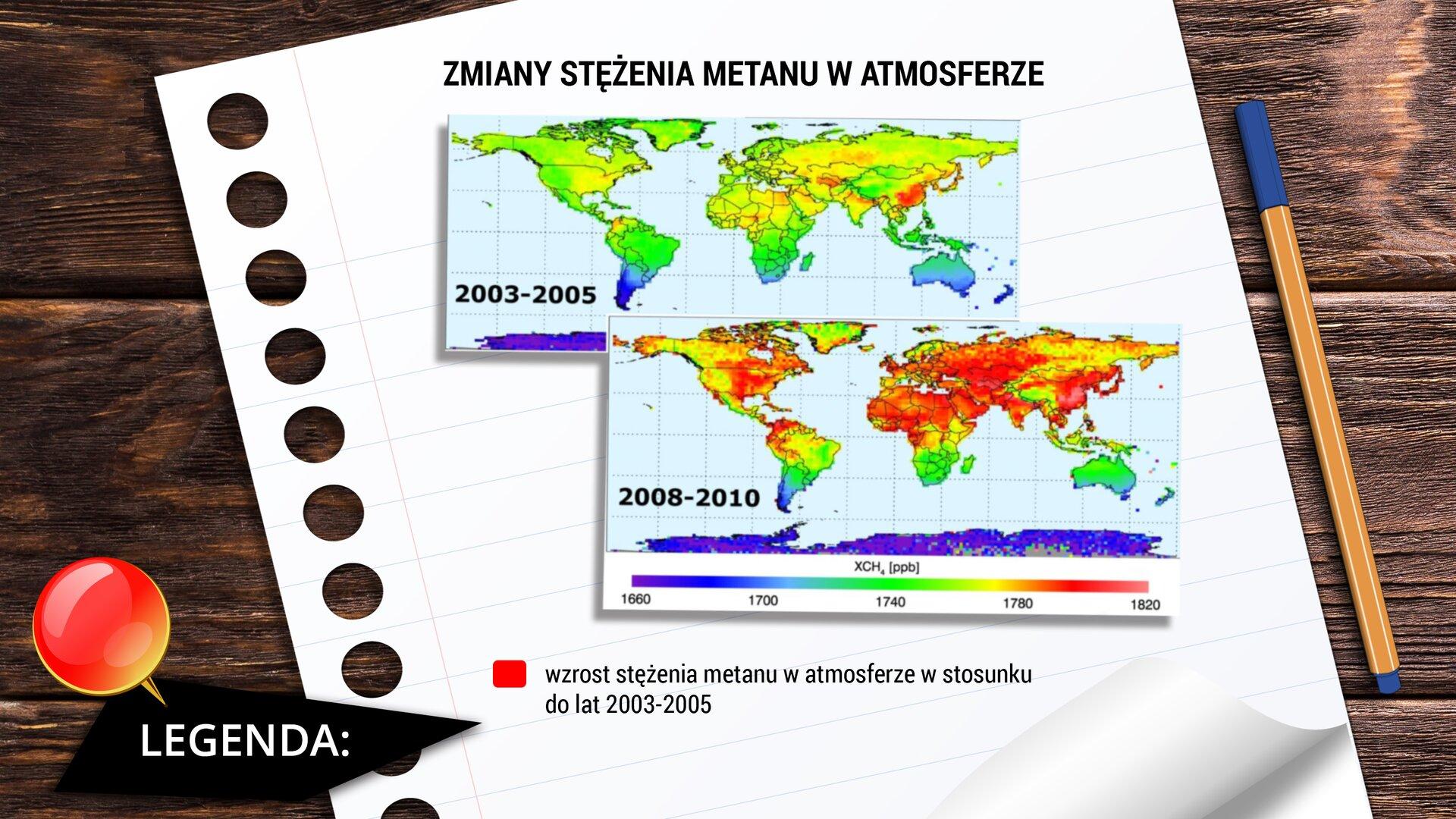 """Ilustracja przedstawia kartkę papieru leżącą na drewnianym biurku. Po prawej leży również cienkopis. Na kartce widać nagłówek: """"Zmiany stężenia metanu watmosferze"""". Poniżej znajdują się dwie mapy świata. Pierwsza pokazuje stężenie metanu watmosferze na świecie wlatach 2003-2005, adruga stężenie metanu watmosferze na świecie wlatach 2008-2010. Chłodniejsze kolory (odcienie niebieskiego) oznaczają niską zawartość metanu, cieplejsze kolory (odcienie czerwonego) odznaczają wysoką zawartość metanu. Wmap wynika, że wprzeciągu pięciu lat nastąpił znaczny wzrost zawartości metanu."""