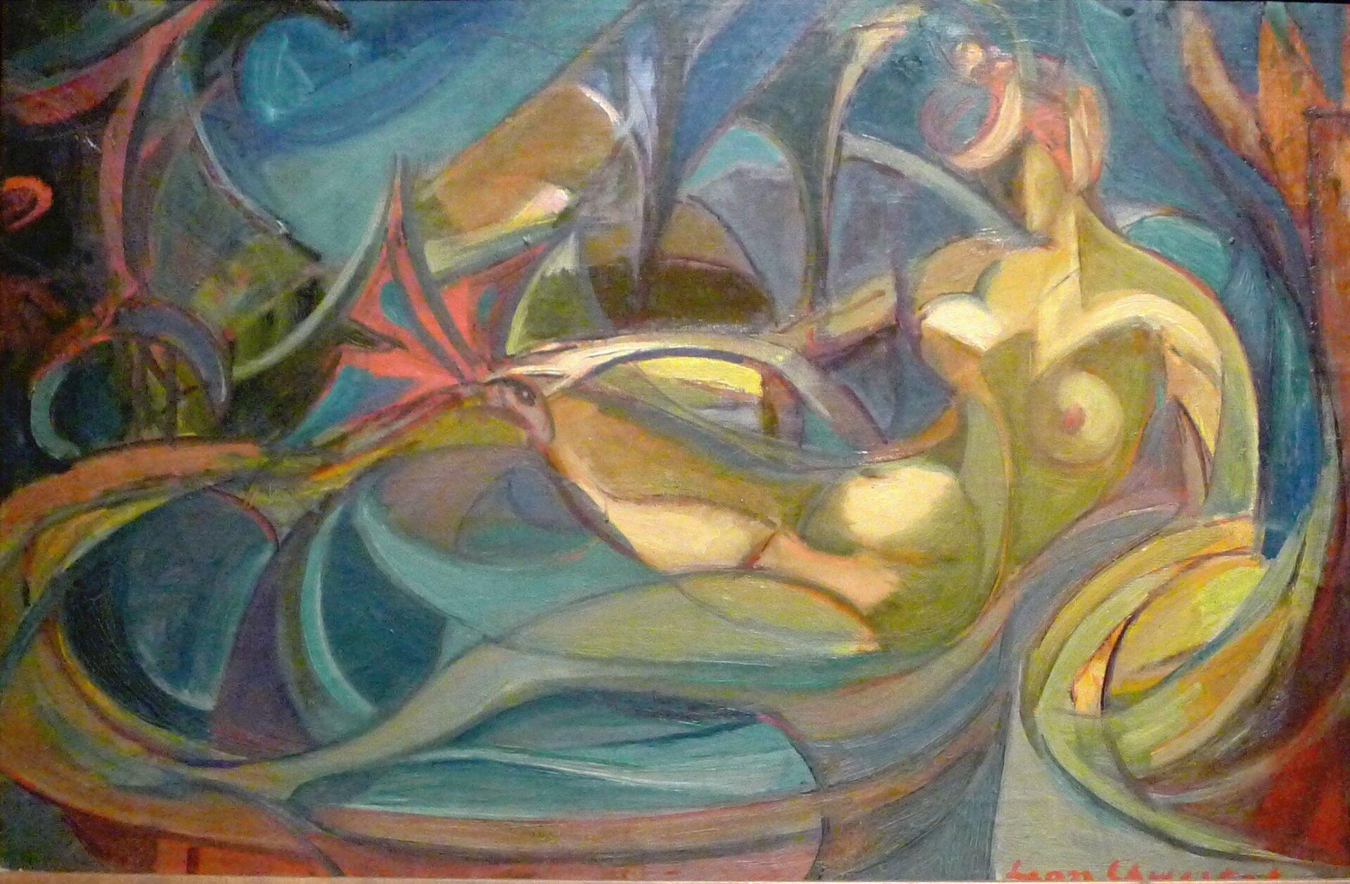 """Ilustracja przedstawia pracę Leona Chwistka pt. """"Akt kobiecy"""". Na ilustracji widoczna jest kobieta kąpiąca się wwannie. Kobieta jest goła idoskonale widoczne są jej piersi oraz brzuch. Na obrazie dominują barwy: czerwieni, niebieskiego iżółtego."""