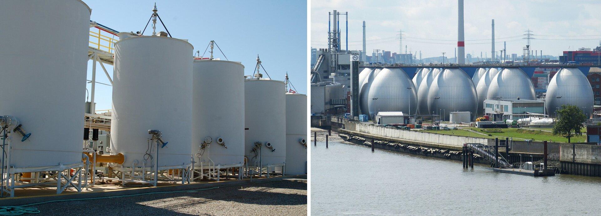 Ilustracja zawiera dwa zdjęcia przedstawiające komory do fermentacji odpadów. Na zdjęciu po lewej stronie mają one kształt wysokich, białych cylindrycznych wież stojących wrównym rzędzie. Na zdjęciu po prawej stronie komory oglądane zwiększej odległości stoją zgrupowane wduży kompleks imają kształt jajek. Zakłady oczyszczające pokazane na zdjęciu po prawej stoją nad brzegiem rzeki lub innym dużym zbiornikiem wodnym, który wraz zmałym nabrzeżem do przeładunku towarów widoczny jest na pierwszym planie.