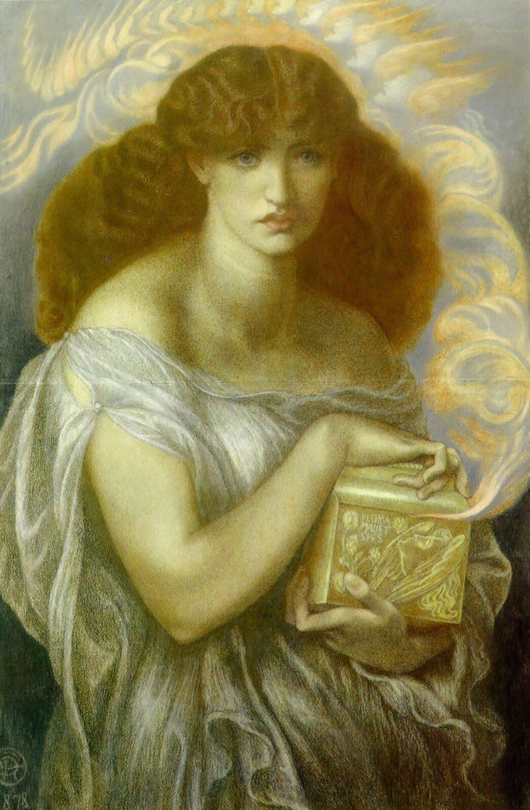 Pandora Źródło: Dante Gabriel Rossetti, Pandora, 1879, Faringdon Collection, Buscot Park, domena publiczna.