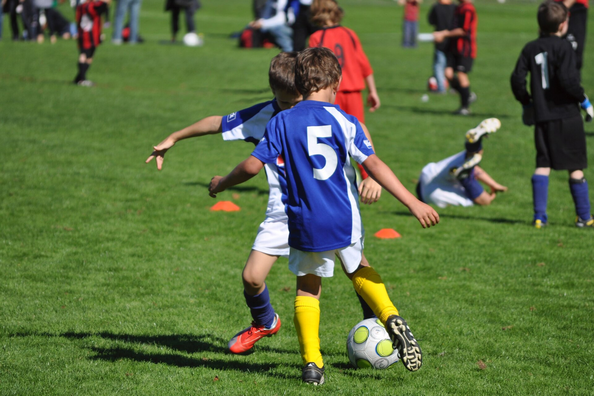 Fotografia przedstawia chłopców grających na boisku wpiłkę nożną. Na pierwszym planie dwaj chłopcy wstrojach sportowych jednej drużyny, wprofesjonalnym obuwiu do gry wpiłkę nożną, podają sobie piłkę, kopiąc ją po murawie. Na dalszym planie kilkunastu chłopców wstrojach sportowych różnych drużyn ćwiczy.