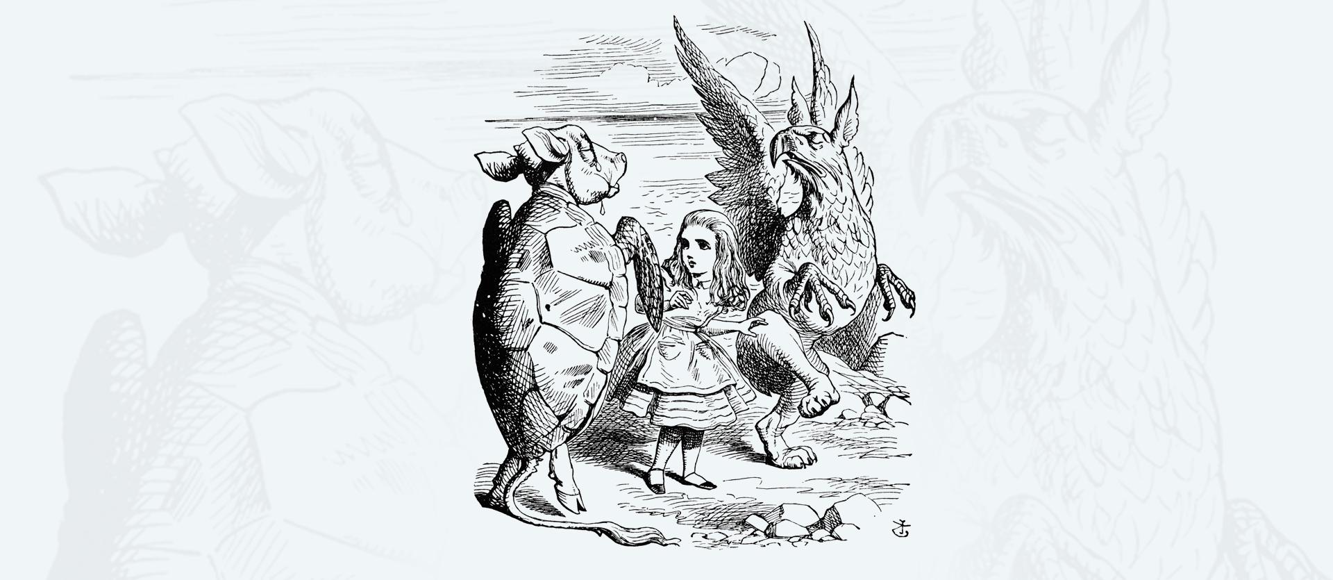 Alicja zGryfonem iFałszywym Żółwiem Alicja zGryfonem iFałszywym Żółwiem Źródło: John Tenniel, rysunek tuszem, domena publiczna.