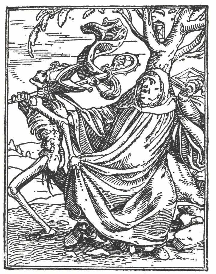rycina zcyklu Taniec śmierci Przyjrzyjsię rekwizytom, wktóre wyposażona jest Śmierć ciągnąca za sobą mnicha. Dlaczego posiada ona właśnie takie przedmioty? Źródło: Hans Holbein młodszy, rycina zcyklu Taniec śmierci, 1525, domena publiczna.