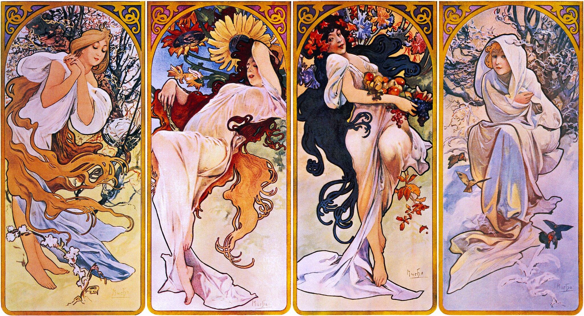 Cztery pory roku Źródło: Alfons Mucha, Cztery pory roku, 1895.