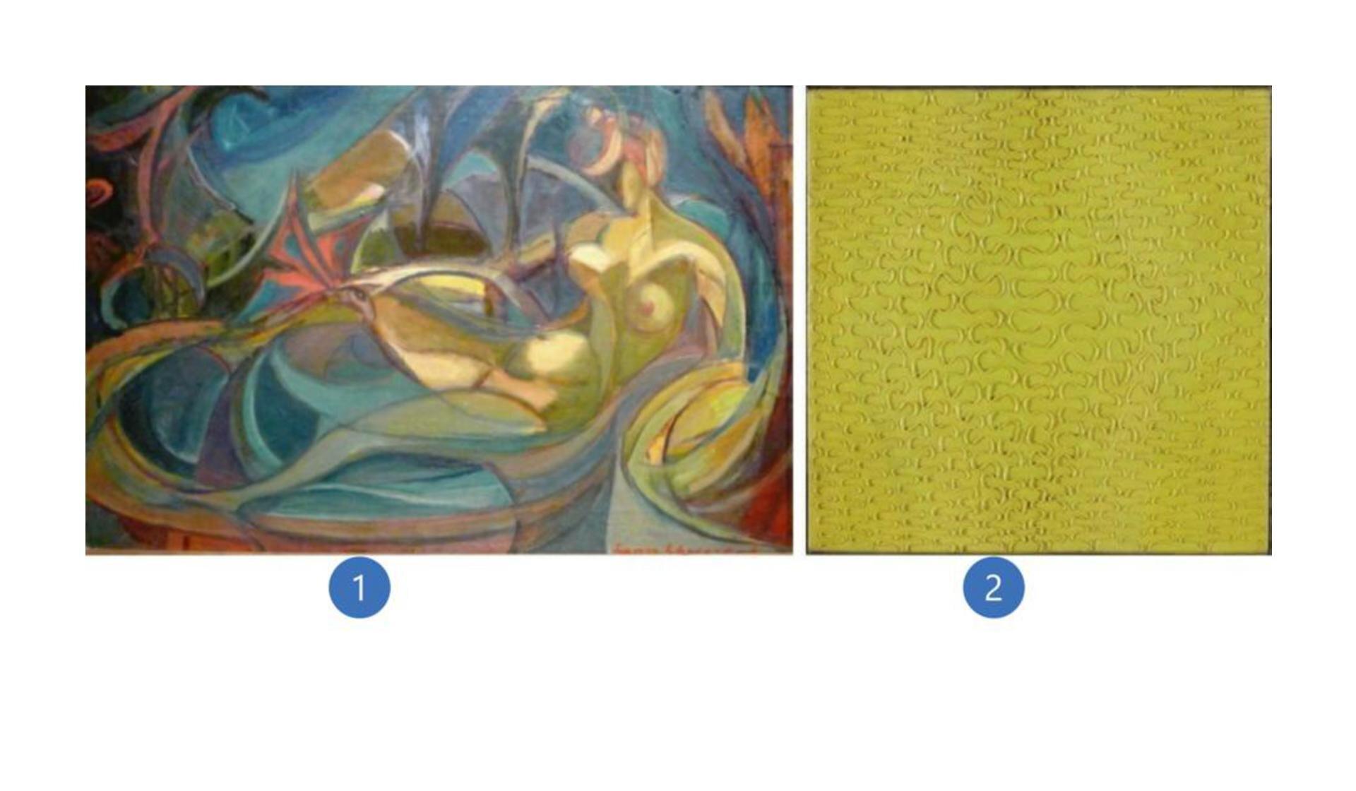 """Wzadaniu zostały wykorzystane dwa dzieła. Pierwsze to praca Leona Chwistka pt. """"Akt kobiecy"""". Na ilustracji widoczna jest kobieta kąpiąca się wwannie. Kobieta jest naga idoskonale widoczne są jej piersi oraz brzuch. Na obrazie dominują barwy: czerwień, niebieski iżółty. Drugie jest przedstawiona żółta faktura ze szlaczkami."""