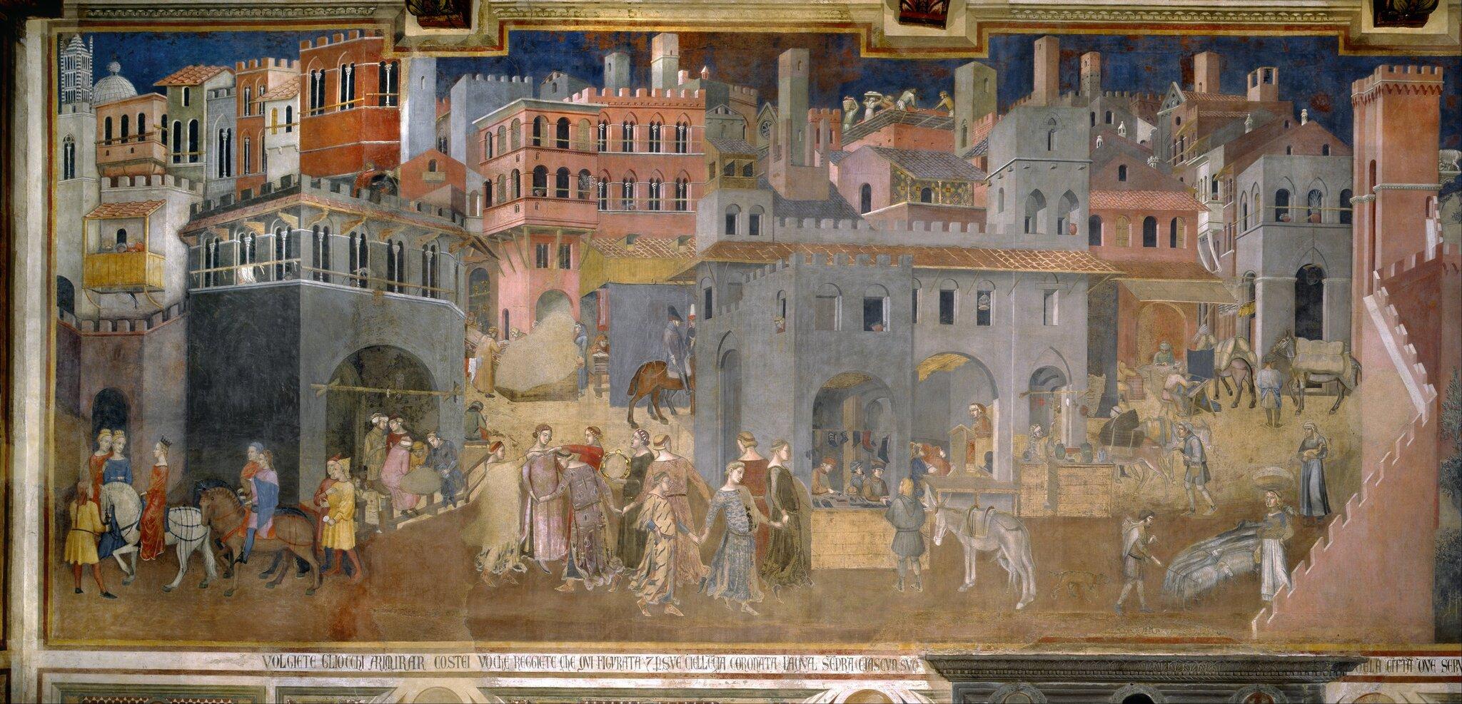 Efekty dobrych rządów wmieście Źródło: Ambrogio Lorenzetti, Efekty dobrych rządów wmieście, 1338-1339, fresk, Fondazione Musei Senesi, domena publiczna.
