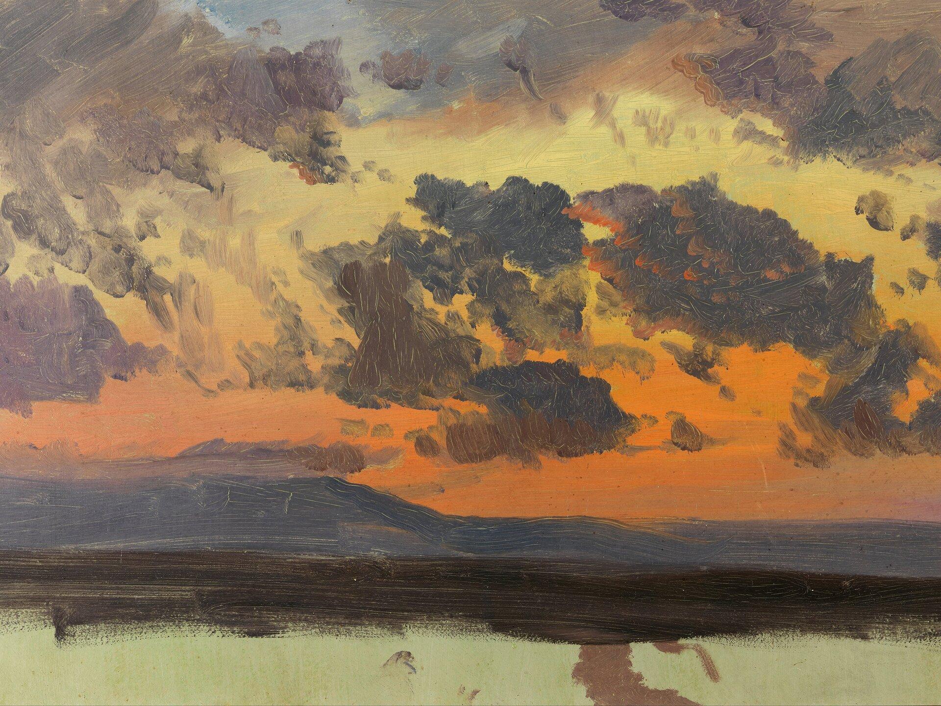 Niebo ozachodzie słońca, Jamajka, Wschodnie Indie Źródło: Frederic Edwin Church, Niebo ozachodzie słońca, Jamajka, Wschodnie Indie, 1865, olej na papierze, domena publiczna.
