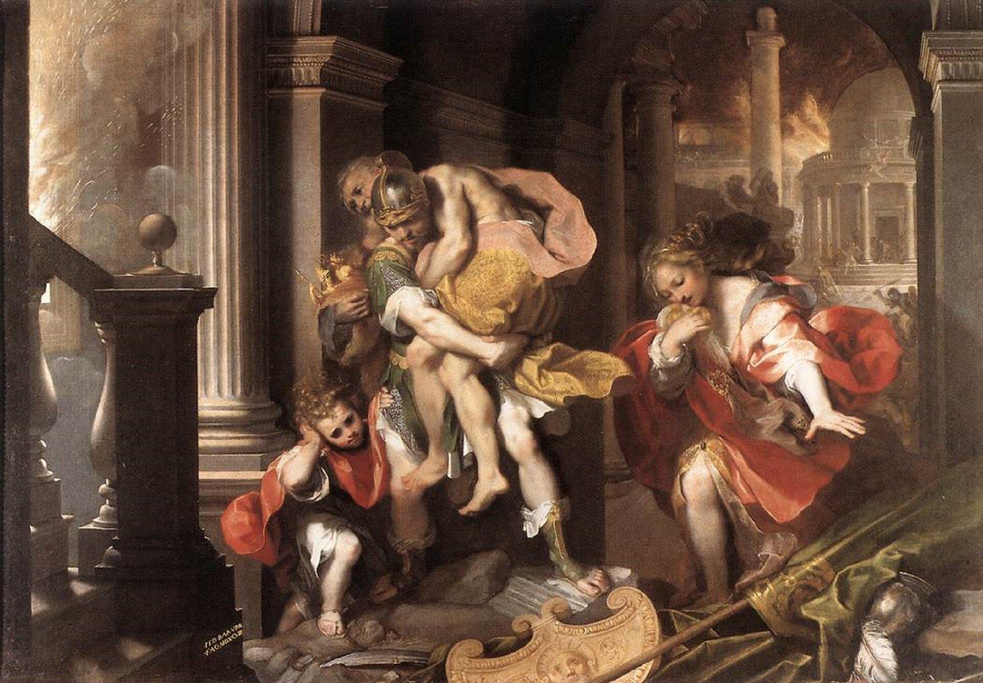 """Dzieło Federico Barocciego  """"Ucieczka Eneasza zTroi"""" przedstawia pięć postaci uciekających przed bitwą. Znajdują się wzrujnowanym pomieszczeniu. Na podłodze leżą zerwane drzewce ze sztandarami oraz hełmy. Wcentrum obrazu przedstawiony mężczyzna wśrednim wieku. Ubrany wzieloną zbroję oraz srebrny hełm, niesie na swoich barkach starszego mężczyznę. Starzec odziany jest wzłote spodnie oraz pomarańczową szatę. Za nimi widoczny jest tylko fragment sylwetki kolejnej postaci, która wręku niesie złote naczynie. Obok znajduje się młody mężczyzna, który zakrywa uszy. Ubrany jest wczerwoną szatę oraz białe spodnie. Ma długie, kręcone blond włosy. Po prawej stronie znajduje się kobieta ubrana wczerwoną suknię, oblond włosach. Na twarzach wszystkich postaci widoczne jest przerażenie oraz obawa przed śmiercią. Wtle przedstawiona jest walka pomiędzy żołnierzami oraz pożar."""