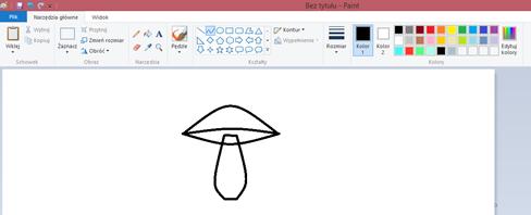 Ilustracja przedstawiająca grzybek bez wypełnienia kolorem